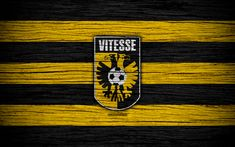 Download wallpapers Vitesse FC, 4k, Eredivisie, soccer, Holland, football club, Vitesse, wooden texture, FC Vitesse