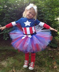 Captain America TuTu - Perfect for your Superhero Princess (Newborn to 5T). $22.00, via Etsy.