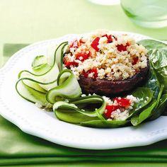 Grilled portobello-quinoa salad