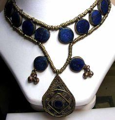 OLD HANDMADE LAPIZ LAZULI TIBETAN SILVER NECKLACE 9645 necklace,gemstone necklace, lapis necklace