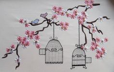Cherry Blossom mini, oiseaux et cage broderie fichiers pour cercle à broder téléchargement instantané, 4x4, 5 x 7 et 6 x 10