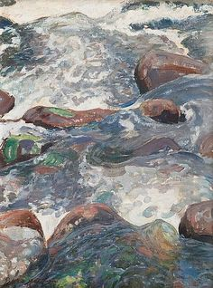 Pekka Halonen (Finnish, Rocky Rapids, Oil on canvas, 55 x 41 cm. Art And Illustration, Landscape Paintings, Watercolor Paintings, Oil Paintings, Chur, Scandinavian Paintings, Maria Emilia, Helene Schjerfbeck, Modern Art