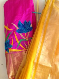 Mango yellow orange cotton silk saree with pure silk hot pink embroidered blouse by GiaExquisiteIndian on Etsy