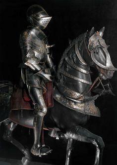 Equestrian armor of Francis I of France made around Réunion des… Helmet Armor, Arm Armor, Knight In Shining Armor, Knight Armor, Medieval Knight, Medieval Armor, Ancient Armor, Armor Clothing, A Knight's Tale