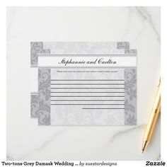 Two-tone Grey Damask Wedding Writable Advice Card Wedding Advice Cards, Damask Wedding, Happy Marriage, Grey, Gray, Repose Gray