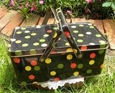 Vintage Tin Picnic Basket Black with Polka Dots