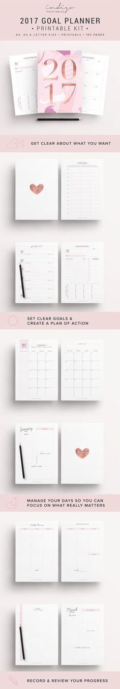 2017 Planner, Goal Planner, Monthly Planner 2017, Weekly Planner 2017, Success Planner, 2017 Inserts, 2017 Printable Planner, 2017 Agenda    2017 Planner, 192 Printable Pages   Created by #IndigoPrintables