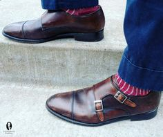 Double Monk Straps in dark brown with patina, navy chinos and burgundy and beige striped socks