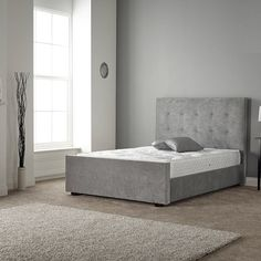 Furniture In Fashion Rachel Bed In Naples Silver Fabric With Wooden Feet Metal Double Bed, Double Beds, Bed Frame Sizes, Bed Sizes, High Headboards, Wooden Bunk Beds, Silver Fabric, Fabric Ottoman, Furniture Catalog