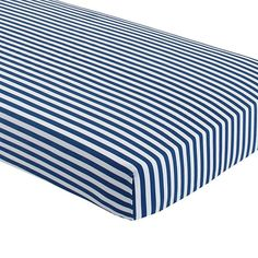 Navy nursery The Land of Nod | New School Crib Fitted Sheet (Blue Stripe) in Crib Fitted Sheets