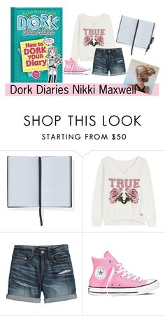 """""""Dork Diaries Character Outfit Nikki maxwell"""" by em-styles-16 ❤ liked on Polyvore featuring Smythson, True Religion, Canvas by Lands' End, Converse and Visconti"""