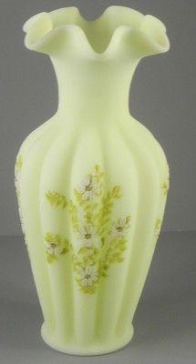 Fenton hand painted satin glass vase