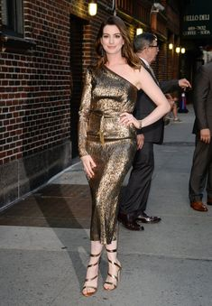 Anne Hathaway's Gold Heels Wrap All the Way Up Her Legs Until They Can't Wrap No More