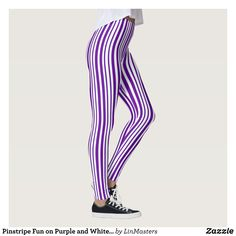 Pinstripe Fun on Purple and White Fashion Leggings : Beautiful #Yoga Pants - #Exercise Leggings and #Running Tights - Health and Training Inspiration - Clothing for #Fitspiration and #Fitspo - #Fitness and #Gym #Inspo - #Motivational #Workout Clothes - Style AND comfort can both be achieved in one perfect pair of unique and creative yoga leggings - workout and exercise pants - and running tights - Each pair of leggings is printed before being sewn allowing for fun designs on every square…