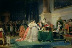 The Divorce of the Empress Josephine' by Henri-Frederic Schopin-1809, 15 December: Napoleon divorces Josephine because she does not beget him a male heir.