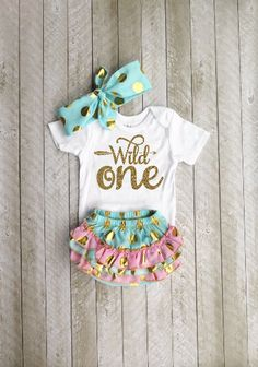 2nd Birthday Outfit Girl Gold Two Wild Pink Peach or Purple Tutu Gold Bow 3 Piece Set 2WILD-TUTUS-PAR