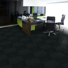 TrafficMASTER Black Ribbed 18 in. x 18 in. Carpet Tiles (16 Tiles/Case)-CP4493816PK at The Home Depot -$37 per box