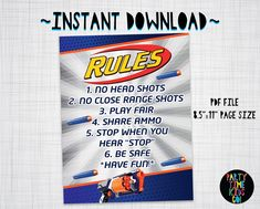 Nerf Rules Poster Sign Nerf Wars Strongarm Blaster Gun - INSTANT DOWNLOAD with matching Invitation Available by PartyTimeKidsCo on Etsy Nerf Party Food, Nerf Birthday Party, 8th Birthday, Birthday Party Invitations, Birthday Ideas, Nerf Party Supplies, Birthday Board, Party Rules, Nerf War