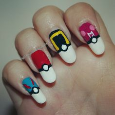 pokemon and pokeball nail art painted by, @daniellem824
