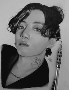 Realistic Pencil Drawings, Art Drawings Sketches Simple, Cute Girl Sketch, Bts Art, Photoshoot Bts, Kpop Drawings, Jungkook Fanart, Scary Art, Applis Photo