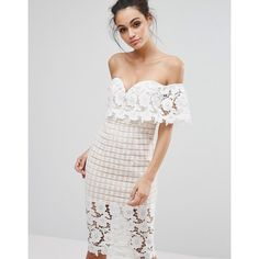 Love Triangle Off Shoulder Midi Dress in Premium Lace (325 RON) ❤ liked on Polyvore featuring dresses, white, bodycon dress, white lace cocktail dress, lace dress, lace midi dresses and off the shoulder bodycon dress
