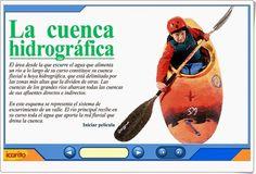 """""""La cuenca hidrográfica"""" es una animación interactiva de icarito.cl en la que se muestran los elementos de la cuenca hidrográfica desde su inicio hasta la desembocadura del río en el mar."""