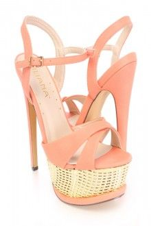 Coral Cross Strap Platform High Heels Faux Leather