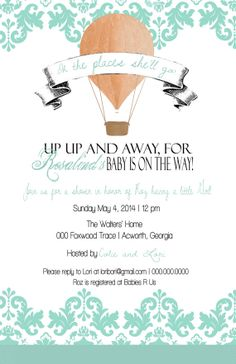 Hot Air Balloons Baby Shower Invite Party Baby by PTWatersDesigns, $12.00