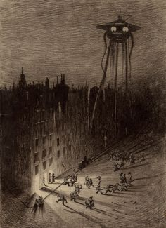 HENRIQUE ALVIM CORRÊA (Brazilian, 1876-1910) Martian Viewing Drunken Crowd, from The War of the Worlds, Belgium edition, 1906 Pencil and ink on paperboard