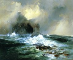 Thomas Moran Fingal's Cave, Island of Staffa, Scotland art painting for sale; Shop your favorite Thomas Moran Fingal's Cave, Island of Staffa, Scotland painting on canvas or frame at discount price. High Museum, Art Museum, Seascape Paintings, Landscape Paintings, Landscape Art, Oil Paintings, Fingal's Cave, Thomas Moran, Hudson River School