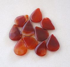 Red Agate Teardrop Pendant Gemstone Pendant by CatsBeadKitsandMore