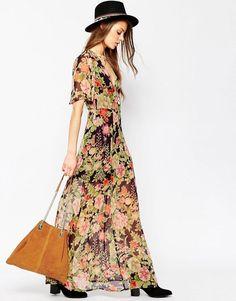 ASOS | ASOS Flutter Sleeve Maxi Dress in Floral Print