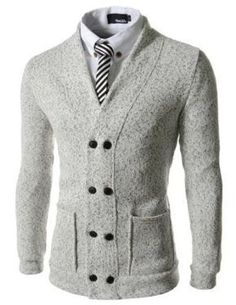 TheLees Slim Fit Double Breasted Knitted Napping 8 Button Cardigan