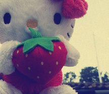 Inspiring picture hello kitty, landscape, sky, strawberrie, vintage.