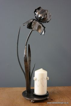 Iris - Flower Candle Holder Sculpture - Blacksmith Forged Flowers - Weddings - Anniversary - Mother's Day- Birthdays - Flowers for life