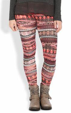 Deb Shops #Legging with Blurred Multicolor Aztec Print