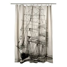 Black Ship Shower Curtain | Coastal Style Gifts