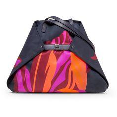 Akris Ai Medium Tulip-Print Shoulder Bag ($1,565) ❤ liked on Polyvore featuring bags, handbags, shoulder bags, tulip print, buckle purses, flat purse, akris and akris handbags