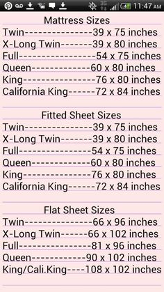 Mattress Sizes, Fitted Sheet Sizes and Flat Sheet Sizes Sewing Hacks, Sewing Tutorials, Sewing Crafts, Sewing Projects, Sewing Patterns, Sewing Tips, Math Patterns, Sewing Basics, Bed Sheet Sizes