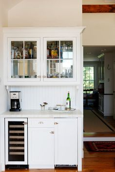 beverage center / morning center – Catherine Connor-Moen – beverage center / mor… – branden rodriquez 321 - Home Coffee Stations Coffe And Wine Bar, Coffee Bar Built In, Coffee Bars In Kitchen, Farm Kitchen Ideas, Kitchen Corner, New Kitchen, Corner Bar, Corner Hutch, Kitchen Pantry