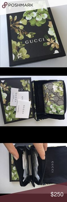 """Gucci GG Blooms Card Case/ Small Wallet Beautiful authentic zip around wallet/ card case . Brand new with box and dust bag.              Detail :                                                             Special edition Blooms print                                  Beige/ebony GG Supreme canvas with Blooms print, a material with low environmental impact 5""""W x 3""""H x 1""""D Made in Italy This item will be delivered in special edition GG Blooms packaging Gucci Bags Wallets"""