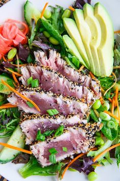 Sesame Crusted Seared Ahi Tuna 'sushi' Salad With Wasabi Vinaigrette With Wasabi Paste, Rice Vinegar, Oil, Soy Sauce, Mirin, Ginger, Oil, Ahi, Black Sesame Seeds, White Sesame Seeds, Salad Greens, Cooked Quinoa, Avocado, Cucumber, Carrots, Edamame, Green Onions, Gari