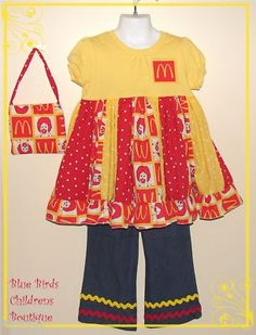 McDonalds Birthday Party Outfit and purse - HAPPY MEAL   for sale on ebay type in BBCB   Birthday Party Pageant Girls Dress  Blue Birds Childrens Boutique   BBCB