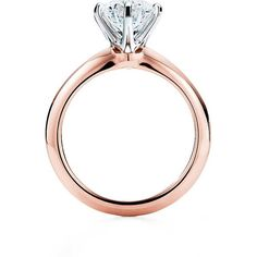 The Tiffany® Setting 18K Rose Gold Engagement Rings | Tiffany & Co. (3.521.645 HUF) ❤ liked on Polyvore featuring jewelry, rings, rose gold jewellery, 18 karat gold jewelry, 18k rose gold ring, engagement rings and tiffany co rings