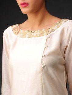 Buy Cream Golden Multi Color Chanderi Brocade Kurta Online at Jaypore.com