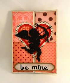 Needles 'n' Knowledge: Be Mine Cupid Medallion Double Bi-fold Card