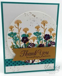 Wild About Flowers Thank You Card.  (Pin#1: Flowers: SU-Stamped).