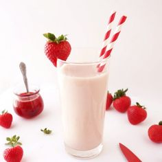 Fresh Strawberry Milk. Deliciously silky smooth, creamy & sweet. Super simple to make with no artificial flavoring.