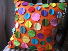 Orange Linen Disc Pillow Rainbow by dedeetsyshop on Etsy, $35.00