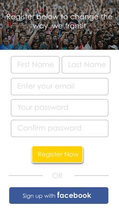 Signup screen mock up